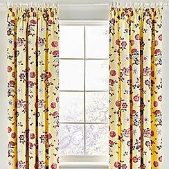 V & A - Yellow cotton sateen 'Emiri' curtains