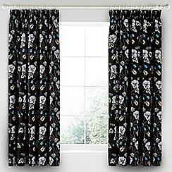 V & A - Black cotton sateen 'Gardenia' curtains
