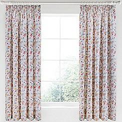 V & A - Multicoloured cotton sateen 'Honeysuckle Trail' curtains