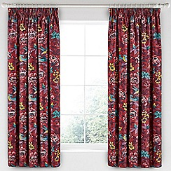 V & A - Dark red cotton sateen 'Oriental Peony' curtains
