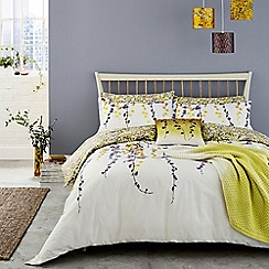 Clarissa Hulse - Yellow 200 thread count floral 'Boston Ivy' duvet cover