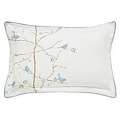 Sanderson - Light blue printed 'Dawn Chorus' Oxford pillow case