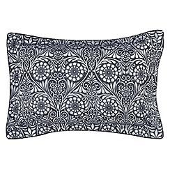 V & A - Dark blue viscose and polyester 'Fiore' Oxford pillow case