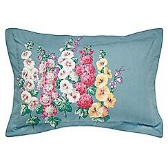 Sanderson - Blue floral 'Hollyhocks' Oxford pillow case