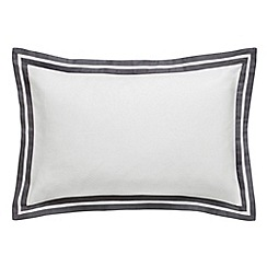 Hotel - White and graphite cotton sateen 200 thread count 'Imperial' Oxford pillow case