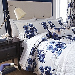 Sanderson - Dark blue 'Mandarin flowers' bed linen
