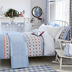Julie Dodsworth - Blue cotton 'Sunday Best' duvet cover