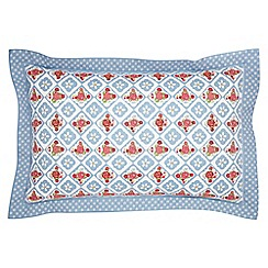 Julie Dodsworth - Blue cotton 'Sunday Best' Oxford pillow case