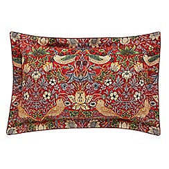 Morris & Co - Red 300 thread count floral 'Strawberry Thief' Oxford pillow case