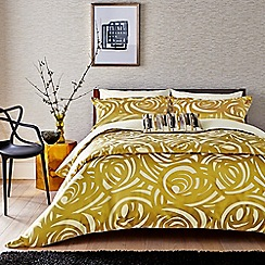 Harlequin - Gold viscose and polyester 249 thread count 'Vortex' duvet cover