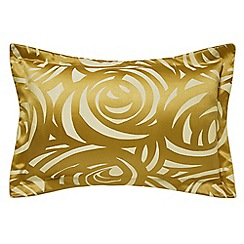 Harlequin - Gold viscose and polyester 249 thread count 'Vortex' Oxford pillow case