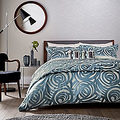 Harlequin - Blue viscose and polyester 249 thread count 'Vortex' duvet cover