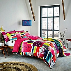 Clarissa Hulse - Multicoloured 200 thread count patterned 'Watercolour Patchwork' duvet cover