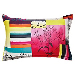 Clarissa Hulse - Multicoloured 200 thread count patterned 'Watercolour Patchwork' Oxford pillow case