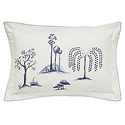 Sanderson - Blue 200 thread count printed 'Willow Tree' Oxford pillow case