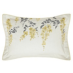 Sanderson - Pale yellow floral 'Wisteria Blossom' Oxford pillow case