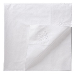 Fable - White 200 thread count patterned 'Laurie' double flat sheet