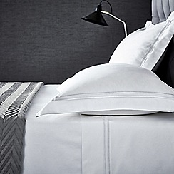Hotel - White cotton sateen 'Linley' flat sheet