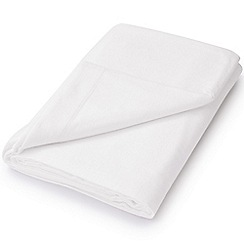 Hotel - White brushed cotton plain dye 'Verbier' flat sheet