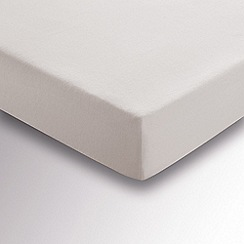 Hotel - Silver brushed cotton plain dye 'Verbier' fitted sheet
