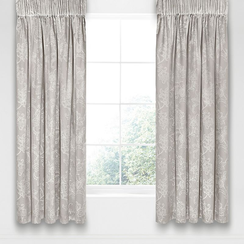 Sanderson Silver cotton and polyester Alencon lined curtains