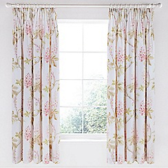 Sanderson - Pink cotton sateen Options 'Chestnut Tree' lined curtains