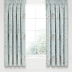 Sanderson - Aqua cotton sateen 'Etchings & Roses' lined curtains