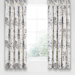 Sanderson - Silver cotton sateen 'Etchings & Roses' lined curtains
