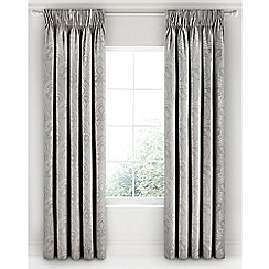 Fable - Light grey cotton 350 thread count jacquard 'Kendari' lined curtains