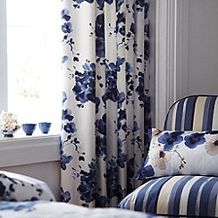 Sanderson - Dark blue 'Mandarin flowers' curtains
