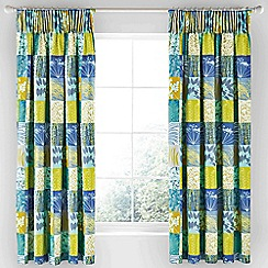Clarissa Hulse - Aqua cotton sateen 'Mini Patchwork' lined curtains