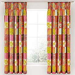 Clarissa Hulse - Bright pink cotton sateen 'Mini Patchwork' lined curtains