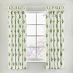Sanderson - Green cotton sateen 'Muguet' lined curtains