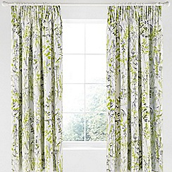 Clarissa Hulse - Light green cotton sateen 'Prairie' lined curtains