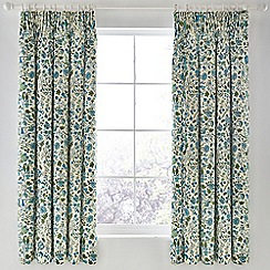 Sanderson - Blue cotton panama 'Sita' lined curtains