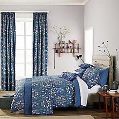 V & A - Blue cotton 'Columbine' bedding set