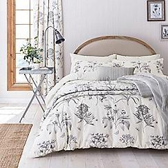 Sanderson - Silver cotton 'Etchings & Roses' bedding set