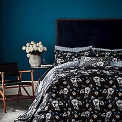 V & A - Black cotton 'Gardenia' bedding set