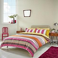 Scion - Dark pink 'Lace Stripe' bed linen set