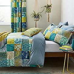 Clarissa Hulse - Aqua cotton percale 180 thread count 'Mini Patchwork' bedding set