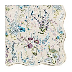 V & A - Blue cotton 'Blythe Meadow' throw