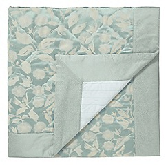 Sanderson - Aqua 'Bird Blossom' quilted throw