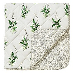 Sanderson - Green cotton and polyester 'Muguet' throw