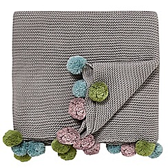 Scion - Grey acrylic 'Pom-Pom' knitted throw
