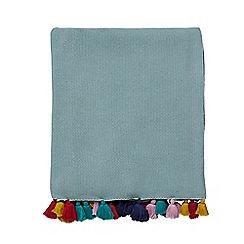Harlequin - Aqua cotton 'Quintessence' knitted throw