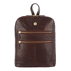 Conkca London - Conker brown 'Florence' handcrafted leather small rucksack