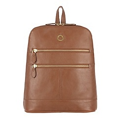 Conkca London - Chestnut 'Florence' veg-tanned leather small backpack
