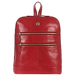 Conkca London - Cranberry 'Florence' handcrafted waxed leather backpack