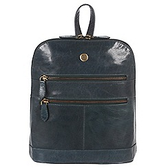 Conkca London - Denim blue 'Florence' handcrafted waxed leather backpack