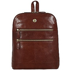 Conkca London - Conker brown 'Florence' tumbled leather small backpack